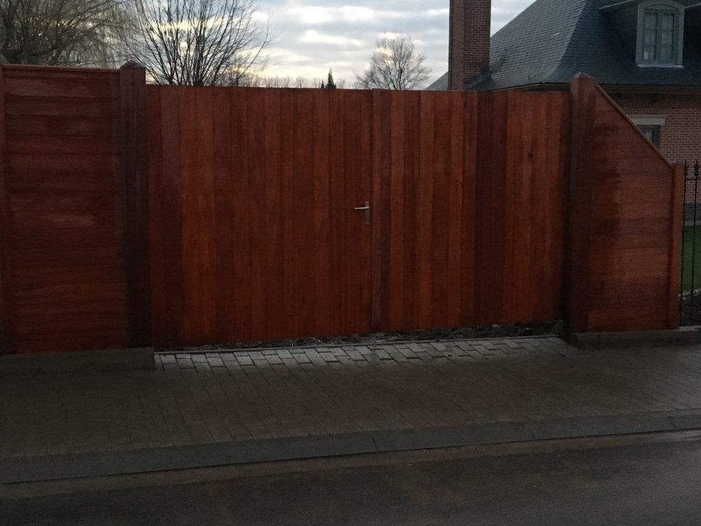 dubbele draaipoort, houten toegangspoort, draaipoort